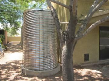 Home rainwater harvesting tank.