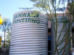 Rainwater harvesting tanks in Tucson, AZ