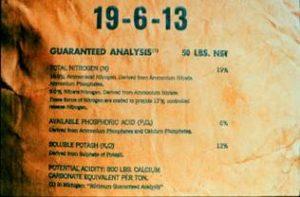 A bag of fertilizer showing the amount of nitrogen, phosphorus and potassium content