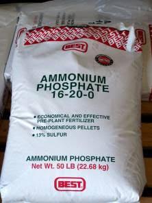 Bags of Ammonium Phosphate and Ammonium Sulfate fertilizers
